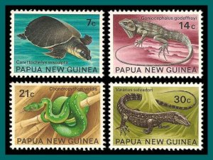 Papua New Guinea 1972 Reptiles, MLH #344-347,SG216-SG219