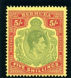 Bermuda 1950 KGVI 5s yellow-green & red/pale yellow (p13-O) superb MNH. SG 118f.