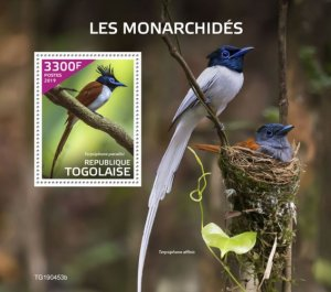 Togo Stamps 2019. - Monarchs (Terpsiphone paradisi).Imperf.