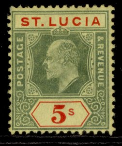 ST. LUCIA EDVII SG77, 5s green & red/yellow, M MINT. Cat £60.