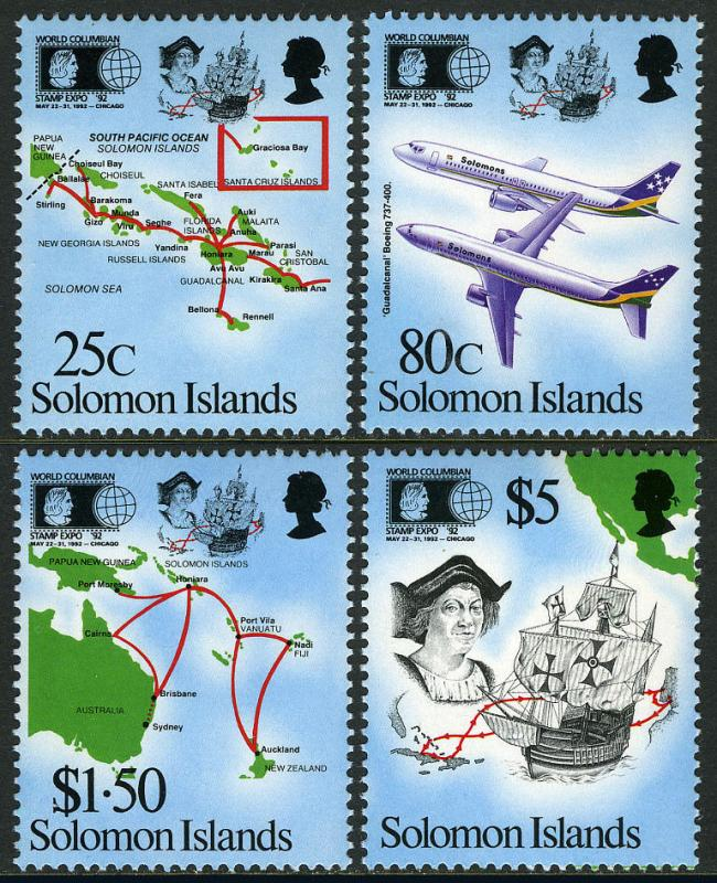 Solomon Islands 723-726, MI 784-787, MNH. Airlines, Domestic & Intl. Route, 1992