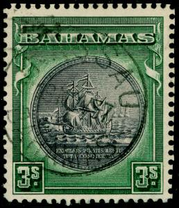 BAHAMAS SG132, 3s slate-purple & myrtle-green, VFU, CDS. Cat £32.