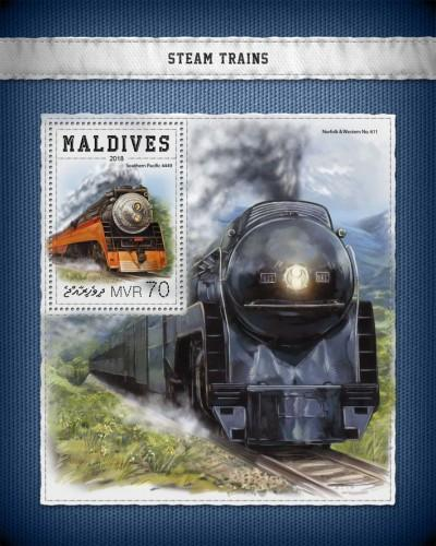 MALDIVES - 2018 - Steam Trains - Perf Souv Sheet - MNH