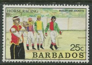 Barbados -Scott 773 - Horse Racing - 1989 - Used - Single 25c Stamps