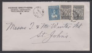 Newfoundland Sc 184 pair, 256 on 1947 cover, TWILLINGATE to ST. JOHN'S
