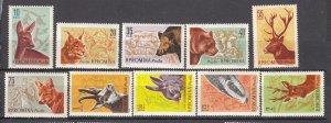 J27582 1961 romania set mh #1425-34 wild animals