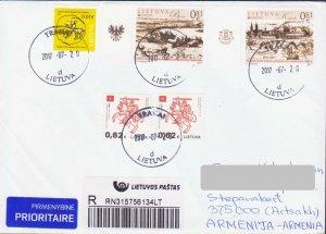 EUROPA CEPT LITHUANIA 2017 CASTLES REGS COVER TO ARTSAKH KARABAKH ARMENIA R18208