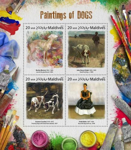 MALDIVES - 2017 - Paintings of Dogs - Perf 4v Sheet - MNH