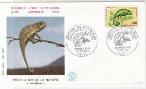 France 1971 Cameleon Protection Pic Slogan Cancels + Stamp FDC Cover Ref 31716