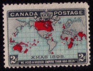 Canada Sc #86 MH,Unused No Gum Red Color Shift Right Xmas 1898