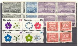 Canada Blocks 4  Mint VF NH/LH -  Lakeshore Philatelics