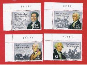 St. Kitts-Nevis #324-327  MNH OG  Bicentennial  Free S/H