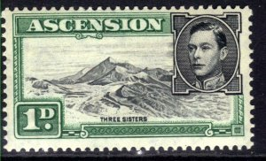 Ascension Island 1938 - 53 KGV1 1d Three sisters MM SG 39d ( E822 )