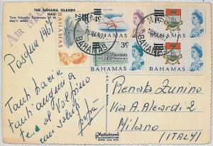 POSTAL HISTORY -  BAHAMAS 1967 : postcard to ITALY - BOATS \ birds \ FLAMINGOS