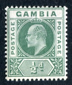 Gambia 1902 KEVII. 1/2d green. Crown CA. Mint. LH. SG45.