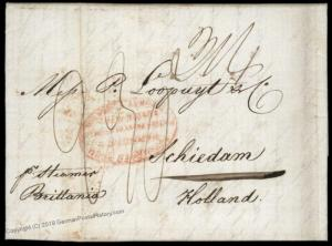 USA 1844 NY Harndens Forwarding Steamer Brittania Loopuyt SCHIEDAM Holland 82513