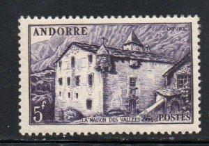 Andorra (Fr) Sc 118 1951 5 f purple La Maison des Vallees   stamp mint