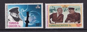Turks and Caicos  #297-298  MNH  1974   Churchill