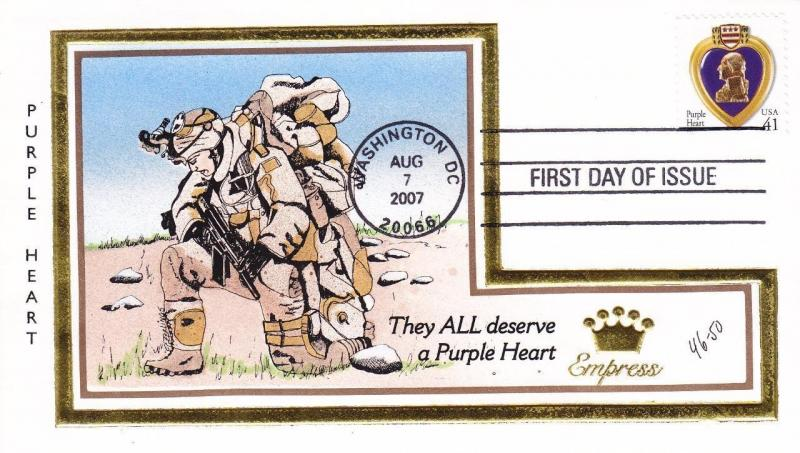 FDC: Purple Heart, H/P by Empress, 46/50, Aug 7, 2007 (19720)