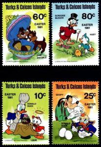 TURKS & CAICOS - 1981 - DISNEY - EASTER - DONALD - GOOFY ++ MINT - MNH SET OF 4!