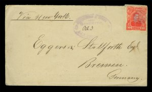 HONDURAS 1891.10.3  Pres. Bogran 10c red on  SAN PEDRO cover to GERMANY (via NY)