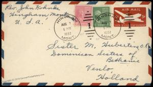 USA 8c 1c Prexie Hingham MT Airmail Venlo Holland Postal Stationery Cover 83735