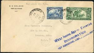 #D12, #282 ON WEST INDIAN AERIAL EXPRESS INAUGURATION 1ST FLIGHT COVER BP3126