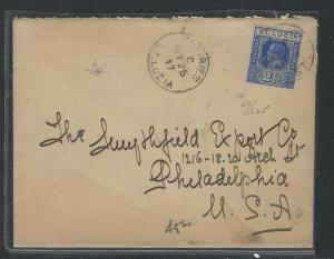SAINT LUCIA  (P0912B) KGV 2 1/2D 1917 COVER CASTRIES TO USA