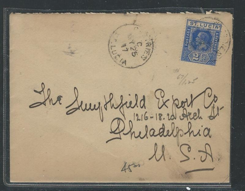 SAINT LUCIA  (P0912B) KGV 2 1/2D 1917 COVER CASTRIES TO USA