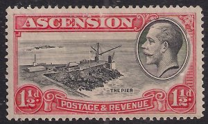 Ascension Island 1934 KGV 1 1/2d The Pier MM SG 23 ( F910 )