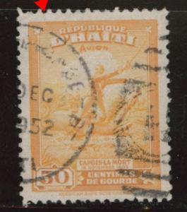 Haiti  Scott C37 Used stamp margin tear at upper left