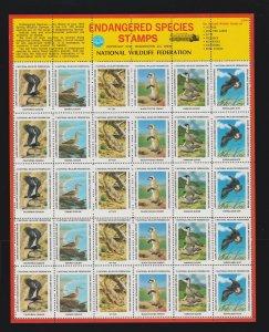 US 1974 National Wildlife Federation Mint Cinderella Stamp Sheet OG NH