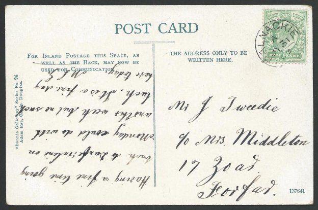 GB SCOTLAND 1909 postcard (Palnackie Round Tower) PALNACKIE small cds......49934