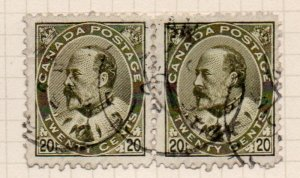 Canada Sc 94 1904 20c olive green E VII stamp pair used nice circular canceel