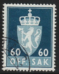 Stamp Norway Official Sc O075 1955 Dienst Coat Arms Used