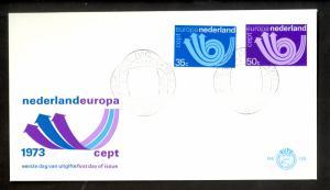 NETHERLANDS 1973 EUROPA Set Sc 504-505 FDC