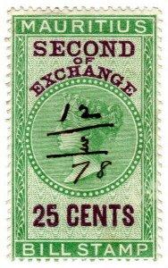 (I.B) Mauritius Revenue : Bill of Exchange 25c (Second)
