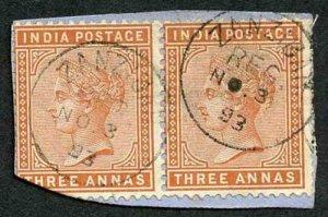 Zanzibar SGZ87 1882-90 India 3a Brown-orange Pair 3 Nov 93 with CDS (type Z6) U