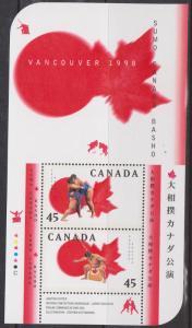 Canada #1724b Mint 1995 Sumo Canada Basho Souvenir Sheet - VF-NH