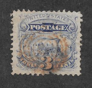 114 Used 3c. Pictorial, Brown Cancel, Cert.