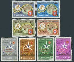 Portuguese Colonies collection of 8 stamps EXPO Brussels-1958.Angola to Timor.