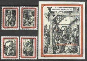 Dominica 1993 Durer art paintings  set+s/s MNH