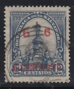 El Salvador 1905-06 6c on 12c Slate with Red Surcharge. Scott 323