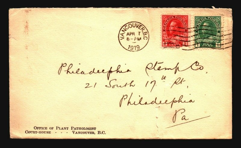 Canada 1919 Vancouver Cover to Phili / Bottom Tear - Z16353
