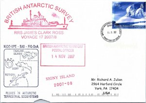 BRITISH ANTARCTIC TERRITORY ARCTIC ANTARCTIC POLAR CANCEL / CACHET #106