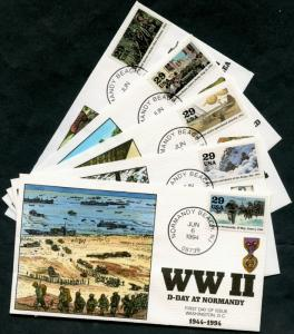 #2838 (10) DIFF. WORLD WAR II COLLINS HAND PAINTED FDC CACHET BP7424