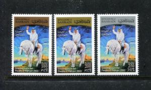 Bahrain 593-595, MNH, 2003 King Hamad on Horses National Day. x23741