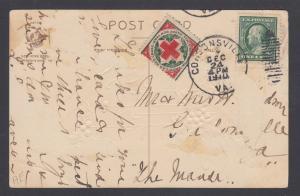 US Sc WX6 Christmas Seal + 1c Franklin on 1910 Christmas Card, CORSONSVILLE, VA