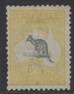 AUSTRALIA SG42 1918 5/- GREY & YELLOW MTD MINT