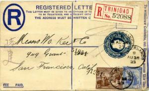 Trinidad 1d KGV and Britannia and 3d Britannia on 2d KGV Registration Envelop...